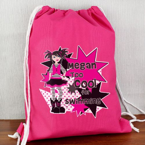 Personalised Girls Too Cool Swim bag